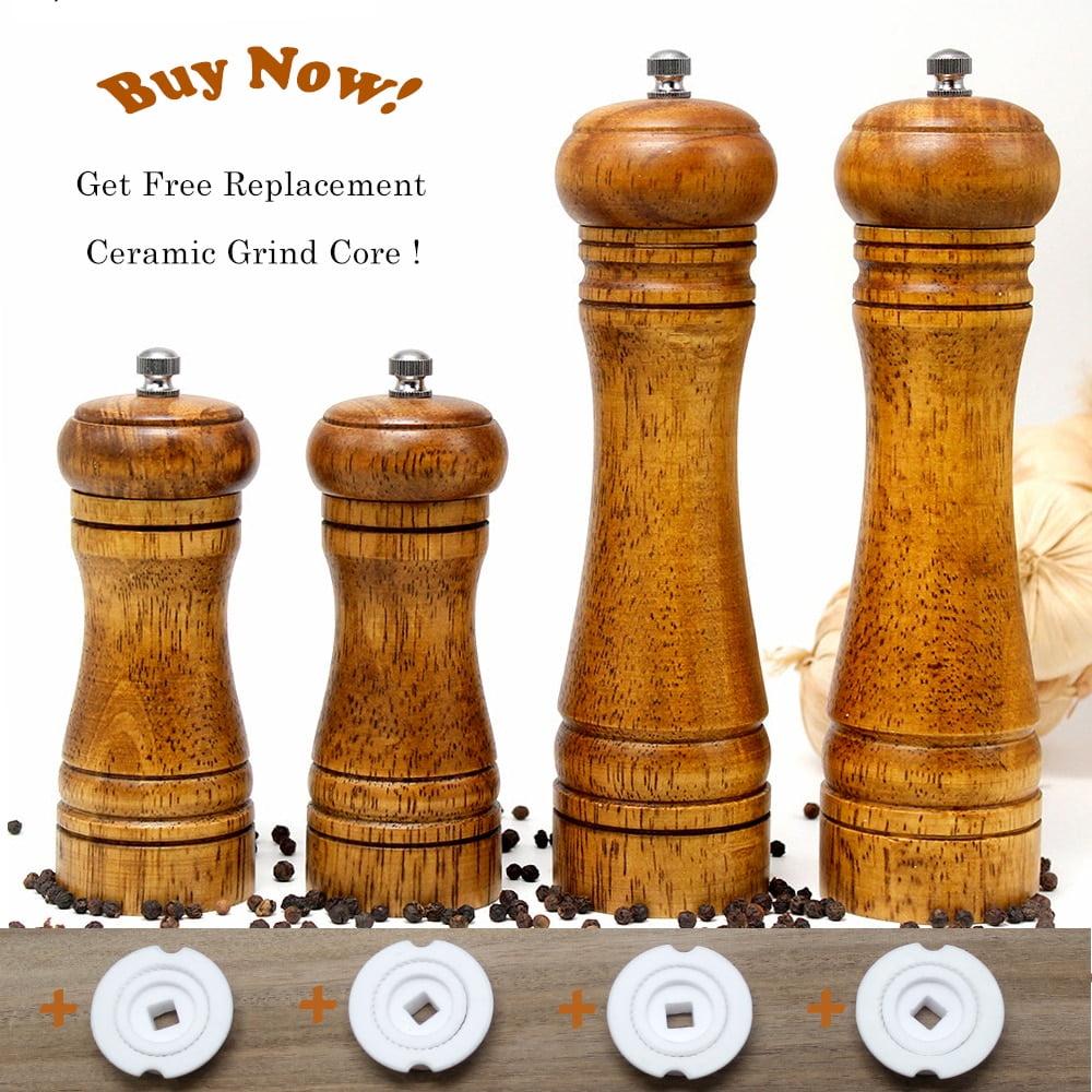 HIKUUI Classical Oak Wood Pepper Spice Mill Grinder Set