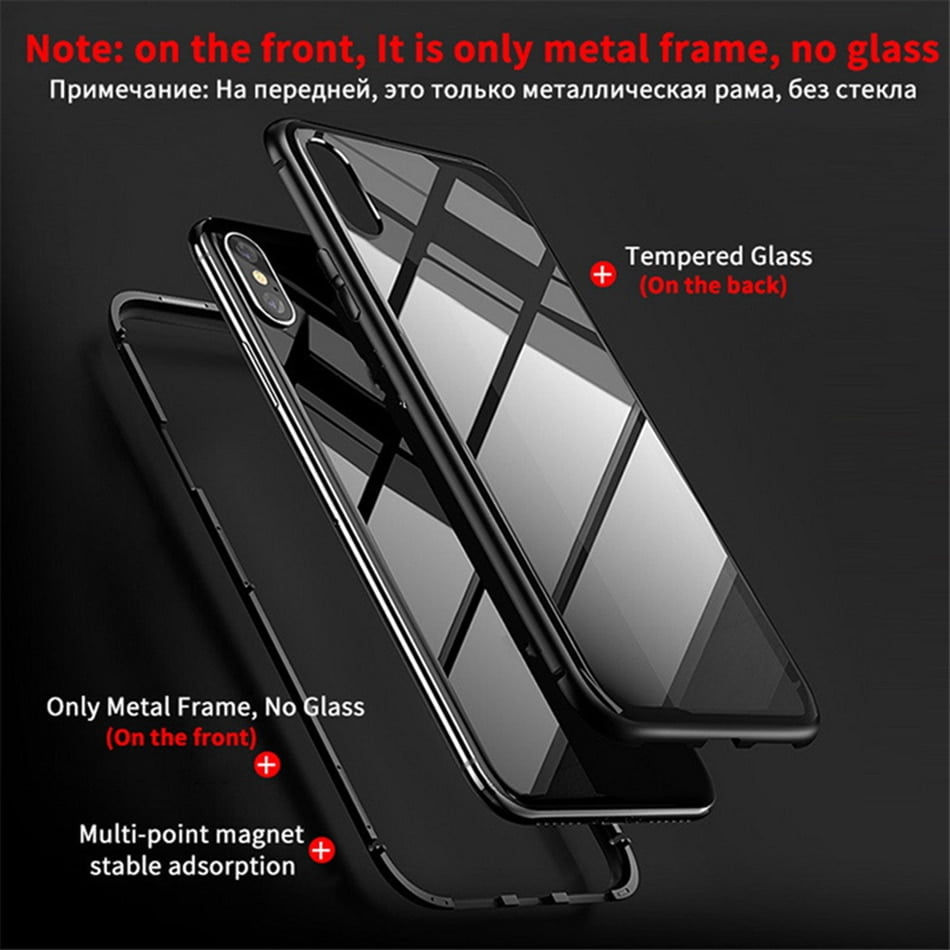 iPhone Magnetic Case Magnetic Adsorption Metal Case For iPhone SE 2020 11 Pro Max Tempered Glass Back Case For iPhone XS Max XR X 8 7 6S 6 Plus Cover