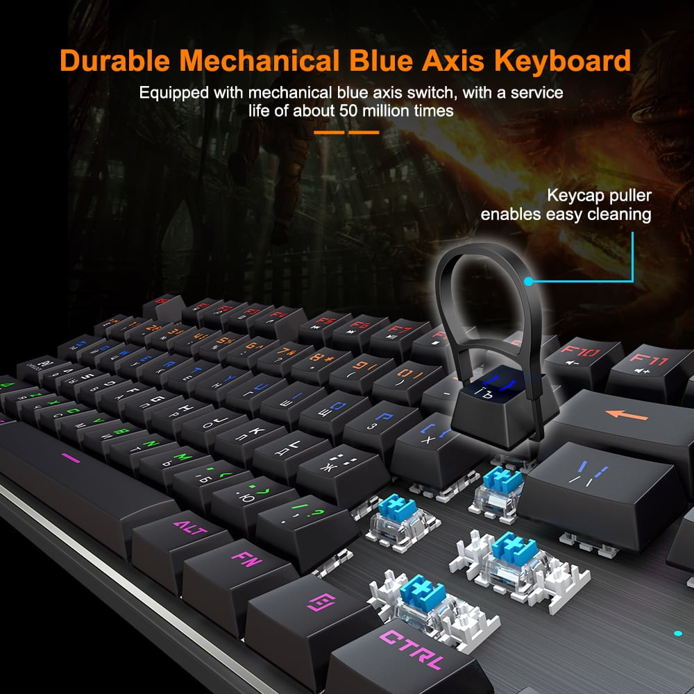 Gaming Keyboard with RGB Backlight, Mechanical keyboard Gamer with 87/104 keycaps Wired Ergonomic Russian keyboard For PC Computer