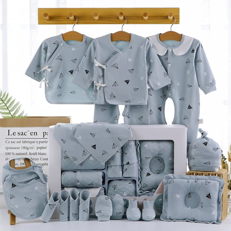 18/22 Pieces Newborn Clothes Baby Gift Pure Cotton Baby Set 0-12 Months Autumn And Winter Kids Clothes Suit Unisex Without Box