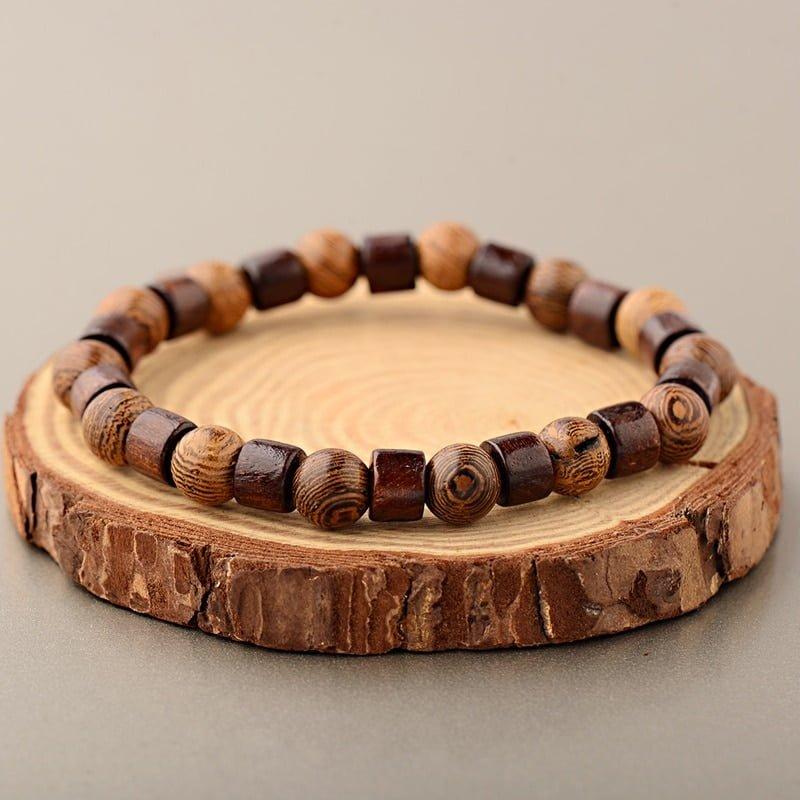 Wood Bracelets Men Natural Cylinder Wood Beads Bracelets OIQUEI 8mm Classic Elastic