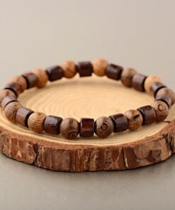 Men Natural Cylinder Wood Beads Bracelet