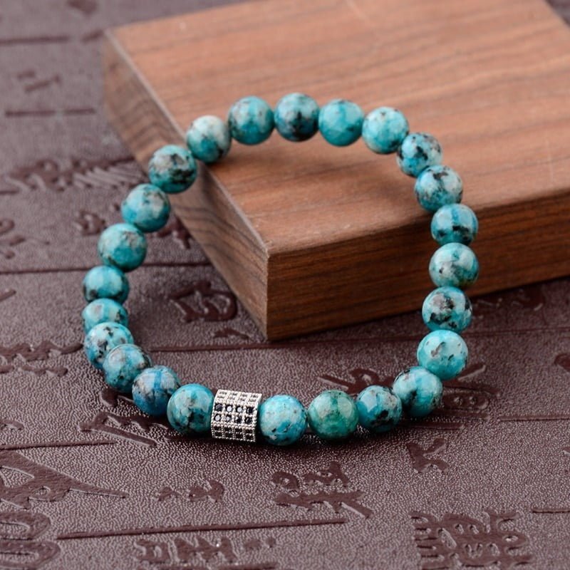 OIQUEI 2021Charms White Black Lava Natural Stone Diffuser Bracelets For Women Men Micro Pave CZ Copper Balls Beaded Bracelet