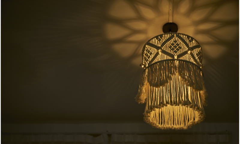 Boho Decor Macrame Tapestry Wall Hanging Hand-woven Chandelier Lampshade House Model Room Coffee Restaurant Decor Wall Tapestry