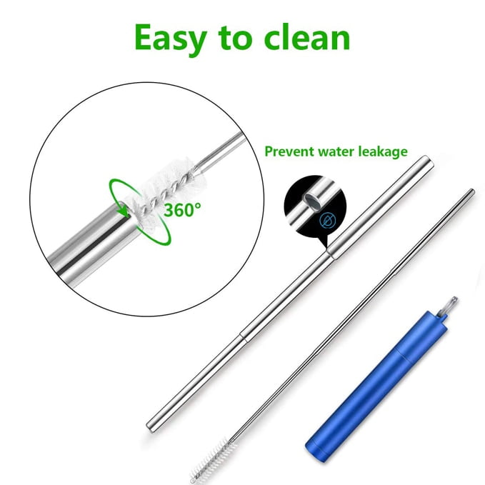 Reusable Straws Telescopic Metal Drinking Straw Collapsible Portable Stainless Steel Straw