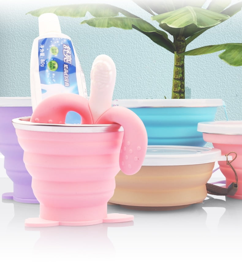 ME.FAM New Cute Cartoon Animal Stainless Steel Silicone Folding Cup With PE Cover Lid Outdoor Collapsible Travel Child Water Cup