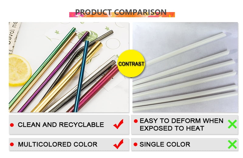 14 pcs Metal Reusable 304 Stainless Steel Straws Straight Bent Drinking Straw With Case Cleaning Brush Set Party Bar accessory