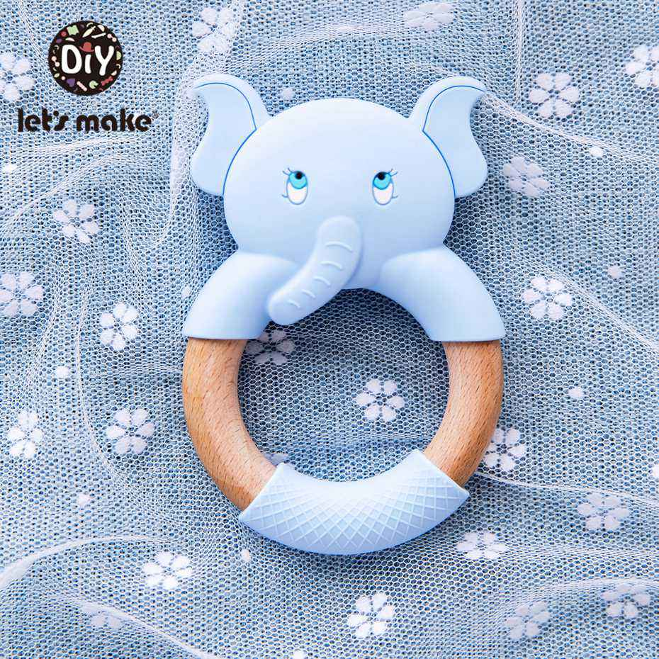 Let's Make 1pc Baby Silicone Teether Cartoon Elephant Teething Toy Beech Wood Ring Infant Comfort Toys Baby Teether