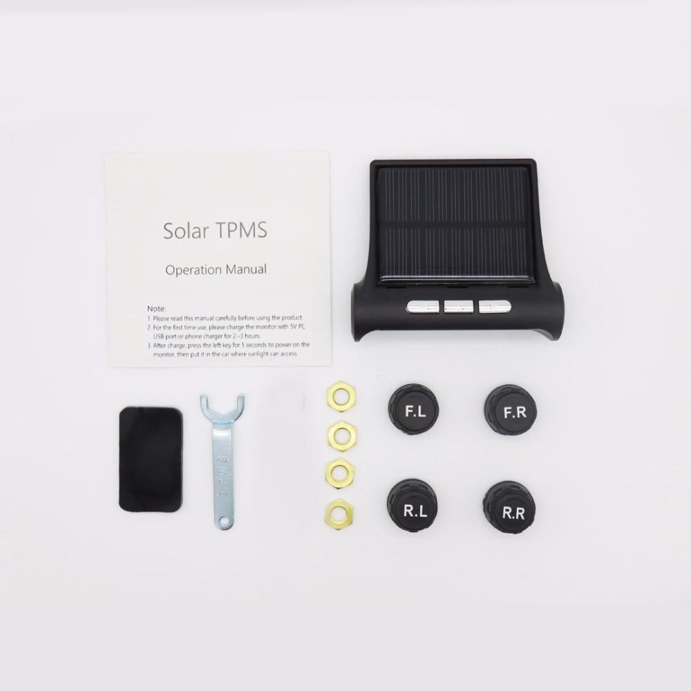 Solar TPMS Car Tire Pressure Alarm Monitor System 4 Internal External Sensor Temperature Alert D06W, D06W Pro, D06N Pro Visture