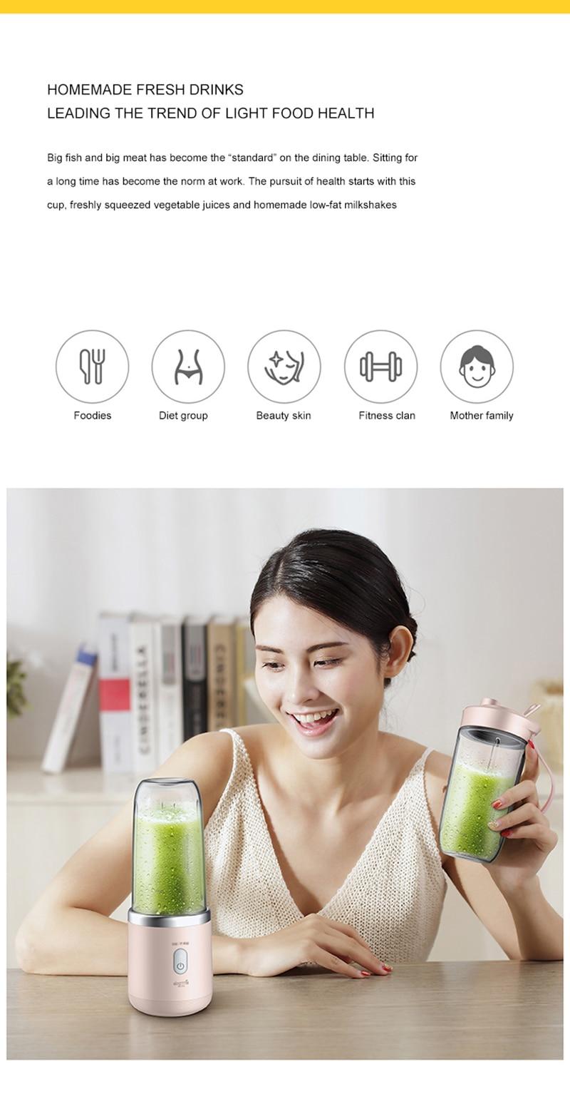 Portable Blender Electric Juicer 400ML Automatic Multipurpose USB Rechargeable Mini Juice Cup Cut Mixer