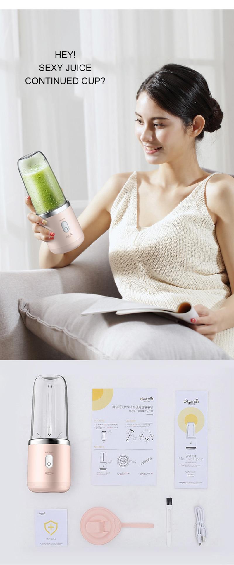 Deerma Portable Blender Electric Juicer 400ML Automatic Multipurpose USB Rechargable Mini Juice Cup Cut Mixer
