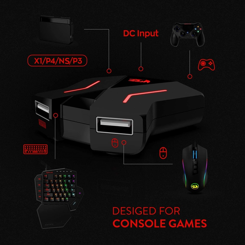Redragon K585 One-handed RGB Gaming Keyboard and M607RGB Mouse Combo with GA200 Converter for Xbox One, PS4, Switch, PS3 and PC