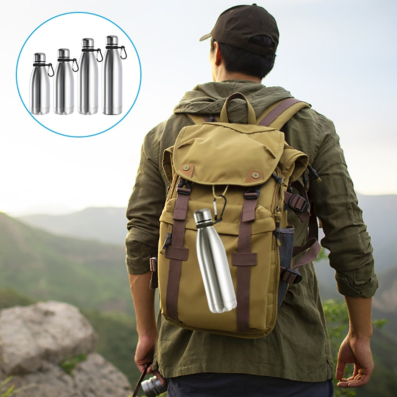 1000ml Sports Stainless Steel Water Bottle Cycling Hiking Bottles with Carabiner Ring Kids School Drinkware 350/500/750ml