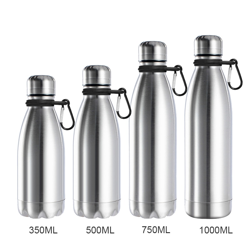 1000ml Sports Stainless Steel Water Bottle for Cycling, Hiking, School with Carabiner Ring
