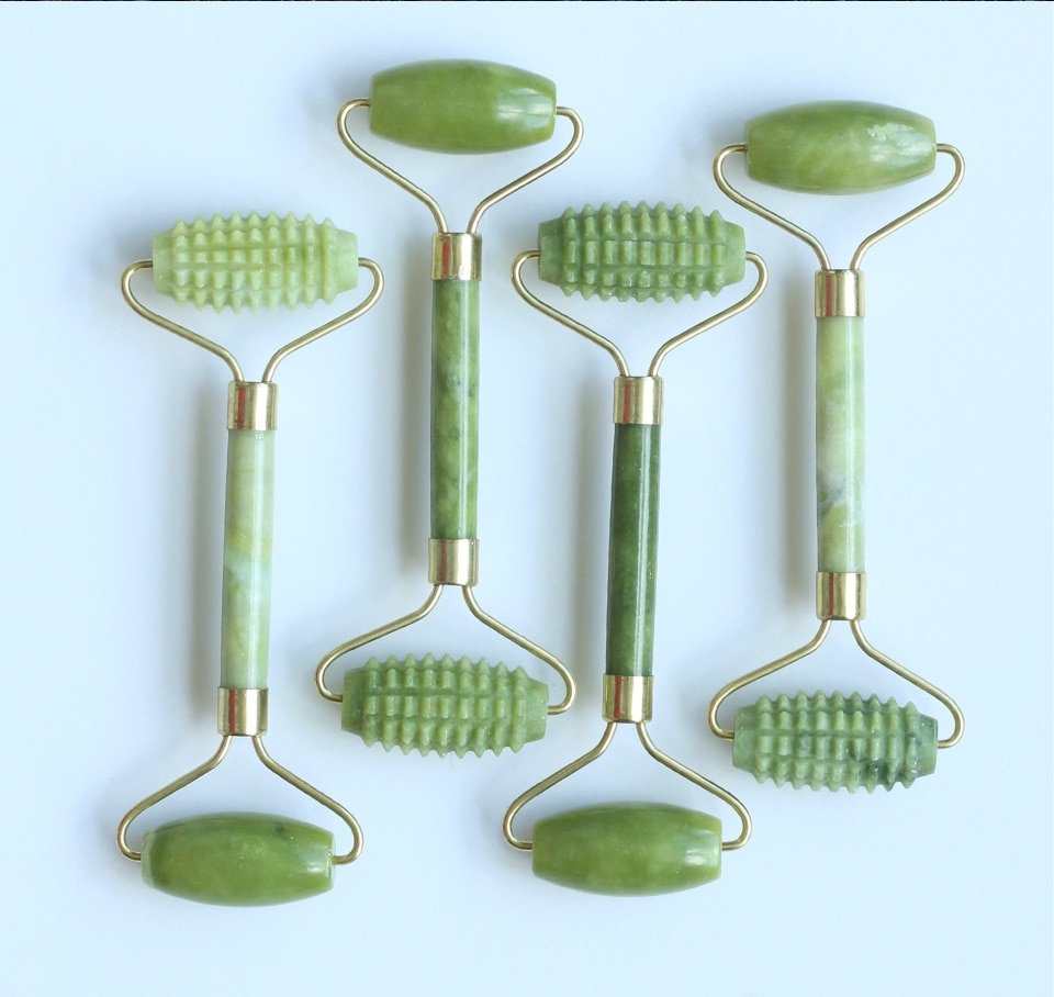 Natural Jade Stone Facial Roller Massager, Scraper Lift Beauty Slimming Tools Skin Relaxation
