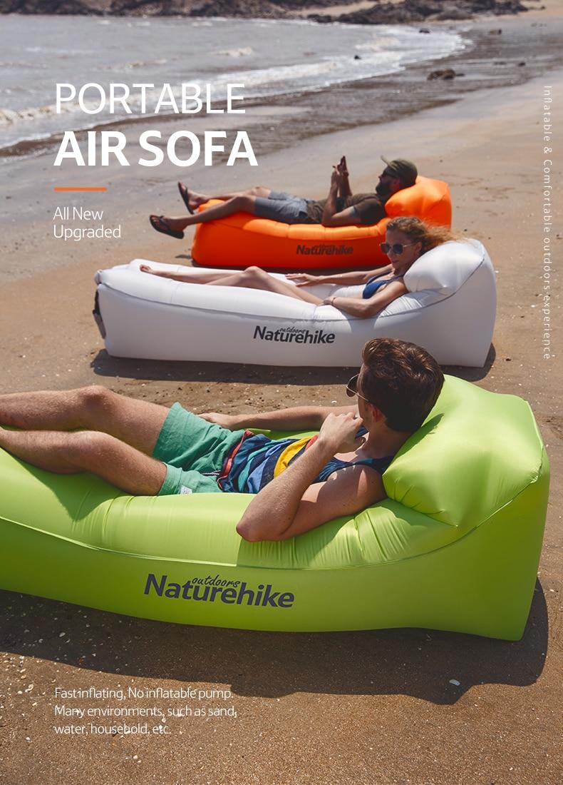 Naturehike Inflatable Camping Air Sofa Lazy Bag Banana Inflatable Sleeping Bag Blow up Couch Camping Lounge Chair Air Sofa Air Lounger